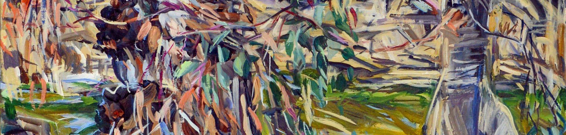 Brigalow Creek Evening (Detail) by Marvene Ash at Maroochydore Library ArtSpace.