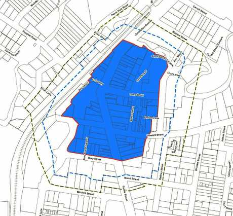 Map showing the proposed Nambour Special Entertainment Precinct (shaded blue are), the primary buffer area (dotted blue line) and secondary buffer area (dotted green line).
