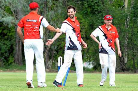 The Bangarangs players Tom Hackett and Justin Fitzgerald celebrate a wicket during the regular season.