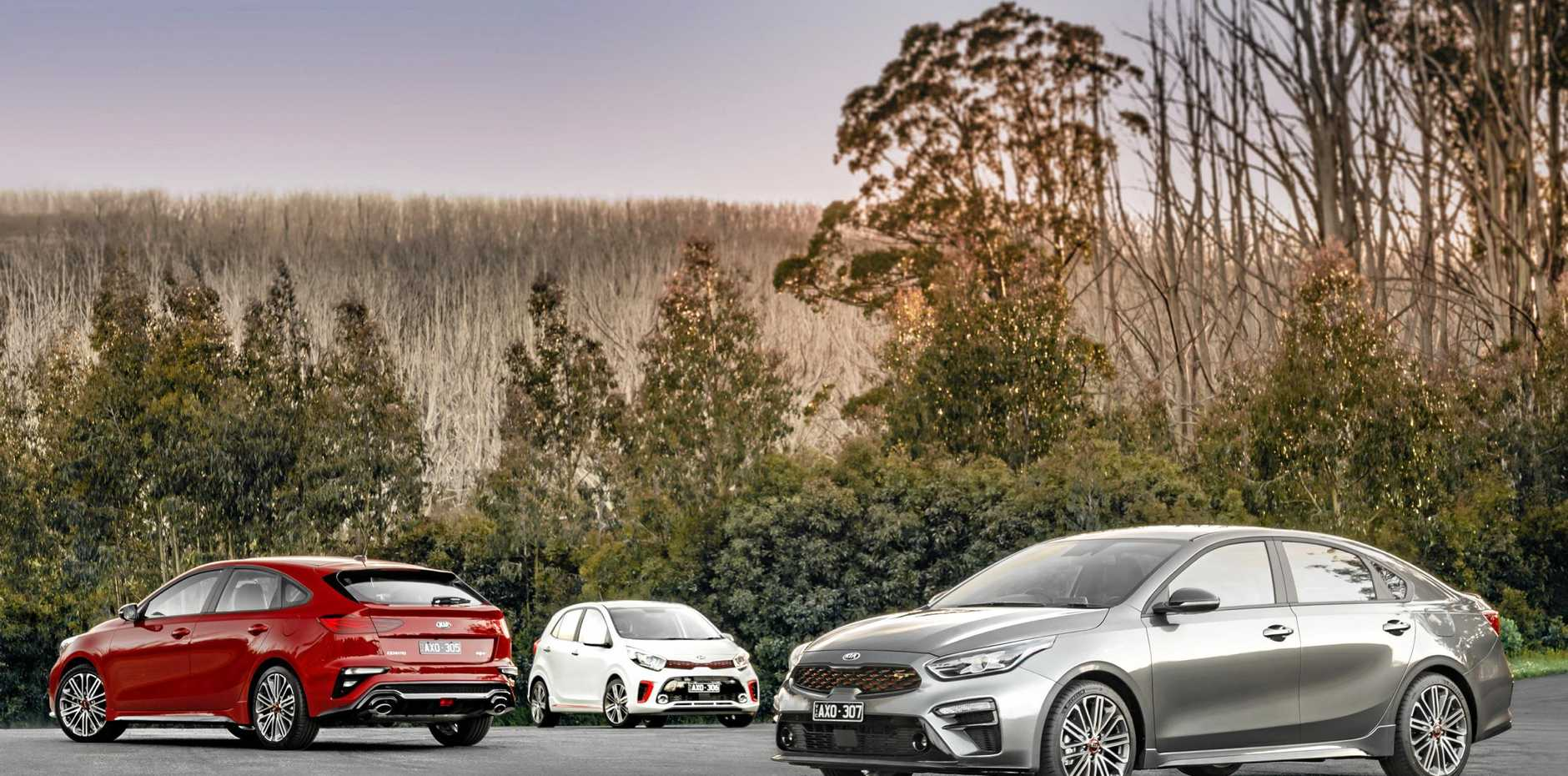 The new Kia Cerato GT in hatch and sedan guise, as well as the new Picanto GT (centre).