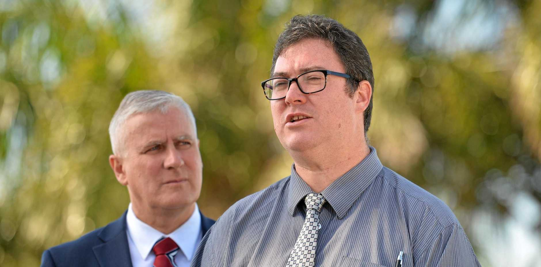 Deputy Prime Minister Michael McCormack and Dawson MP George Christensen at North Mackay Lookout