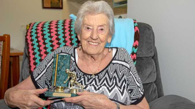 PROUD: Tabeel Aged Care resident and keen bowler Fay Andrew holds a trophy she won in a bowls competition.