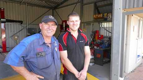 Al Rowles, left and son Jamie who have operated Al's Mechanical and 4WD near the new roundabout for three years expect things to pick up now there is easier access to their shop.