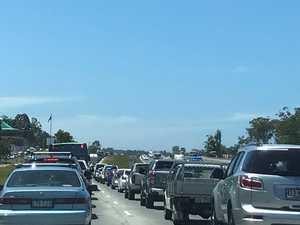 Traffic blocked, one hospitalised after crash