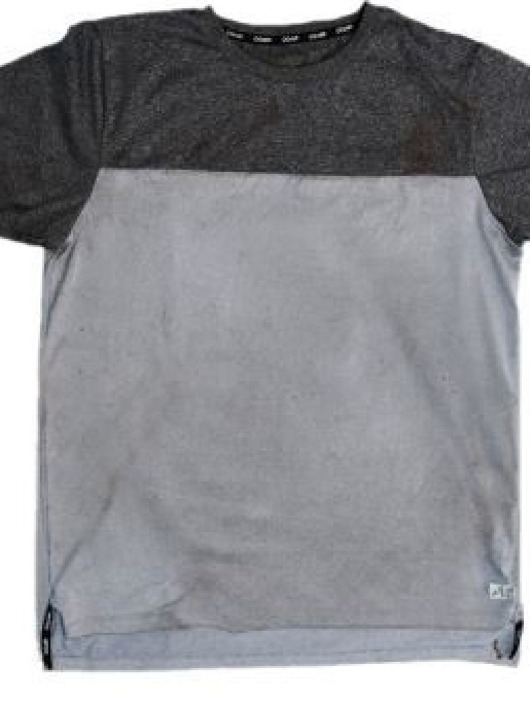 A grey and black T-shirt found at Bundoora.
