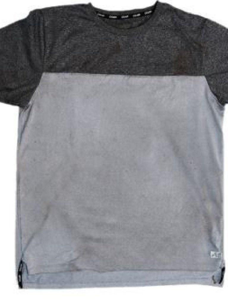 A grey and black T-shirt found at Bundoora.