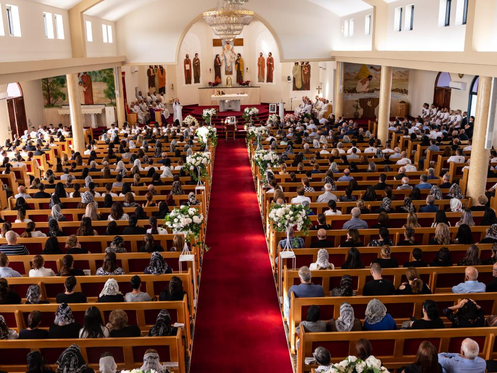 St. Thomas the Apostle Chaldean Cathedral in Bossley Park was packed for the funeral. Picture: Monique Harmer.