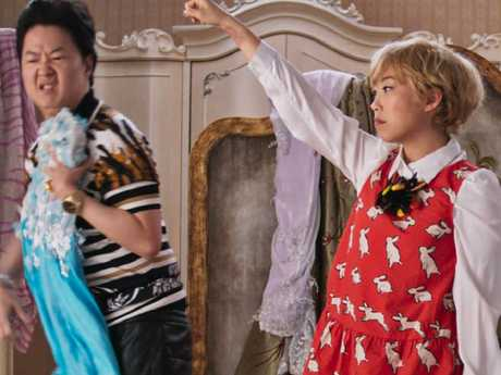 Awkwafina as Peik Lin and Ken Jeong as Wye Mun in Crazy Rich Asians. Picture: Supplied