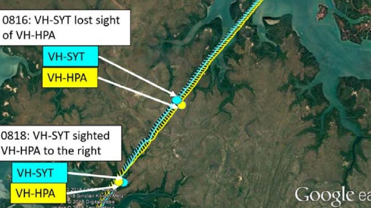 The two Cessna planes, one carrying a pilot and two passengers, and the other with only the pilot on board, came within 5m of each other while flying out of Darwin. Picture: ATSB