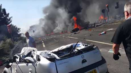 Cars were destroyed in the explosion. Source: YouTube/Lee Allwright