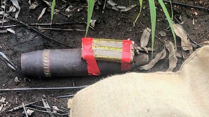 Northern Territory Police, with assistance from the Australian Defence Force Regional Explosive Ordnance Services, have recovered a WWII era artillery projectile which was located on the Stapleton Track in the vicinity of Batchelor. The projectile has since been disposed of safely. Picture: NTPFES