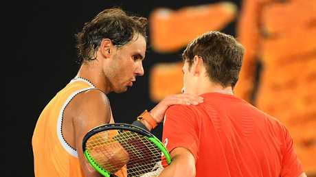 Alex de Minaur congratulates Rafael Nadal. Picture: Getty Images