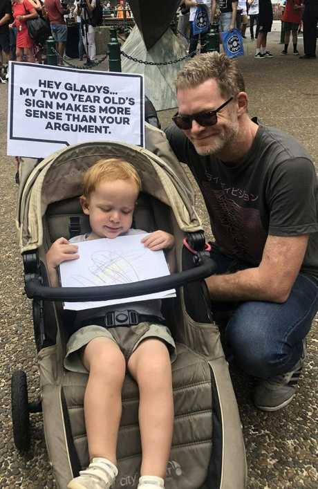 Josh Liebmann with his son Riley. Picture: news.com.auSource:Supplied