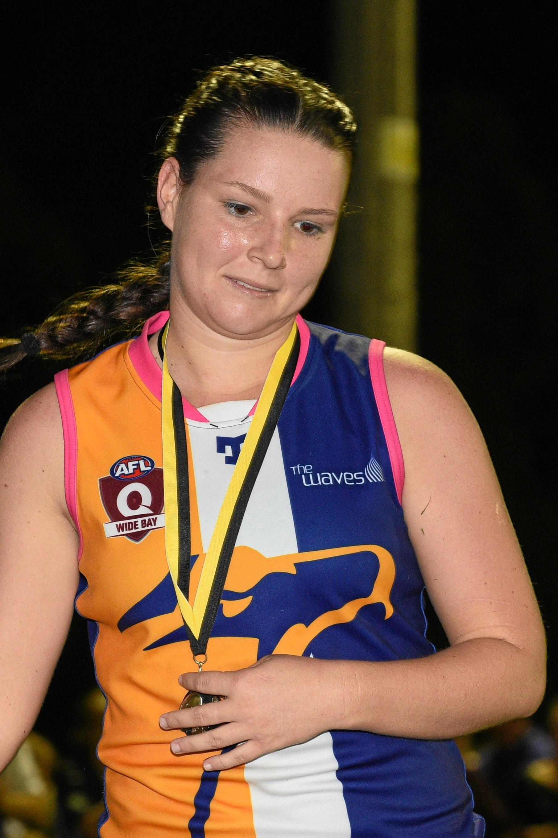 The Waves' best on ground, Kayla Osborn. AFL Wide Bay Women's Grand Final: Hervey Bay Bombers v The Waves at Norm McLean Oval.