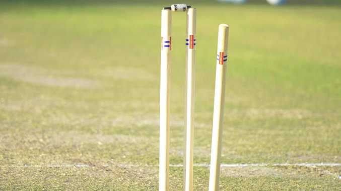 Cricket stumps are broken during the Cleavers Mechanical Night Cricket Round 17 clash between GDSC Easts and Westlawn at McKittrick Park. cricket stumps generic