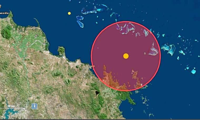 The map showing a 3.9 magnitude earthquake off the coast of Airlie Beach in the early hours of Saturday morning.
