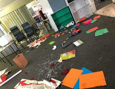 Paint was splashed across windows, walls and furniture in a shocking act of vandalism at Meridan State College over the school holidays.