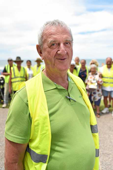 Mike Holt member of the Yellow Vest Movement at Mooloolaba protest against government corruption.