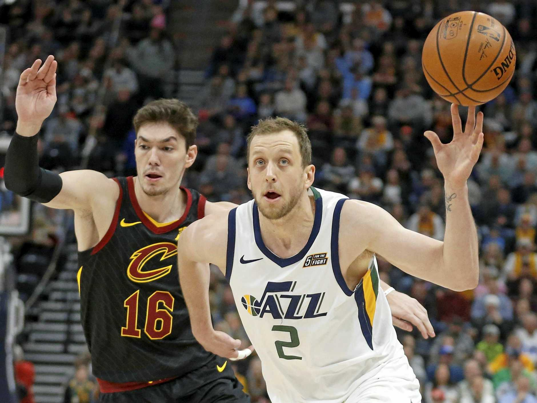 Cleveland Cavaliers forward Cedi Osman guards the Utah Jazz's Joe Ingles during the first half in Salt Lake City.  Picture: Rick Bowmer/AP