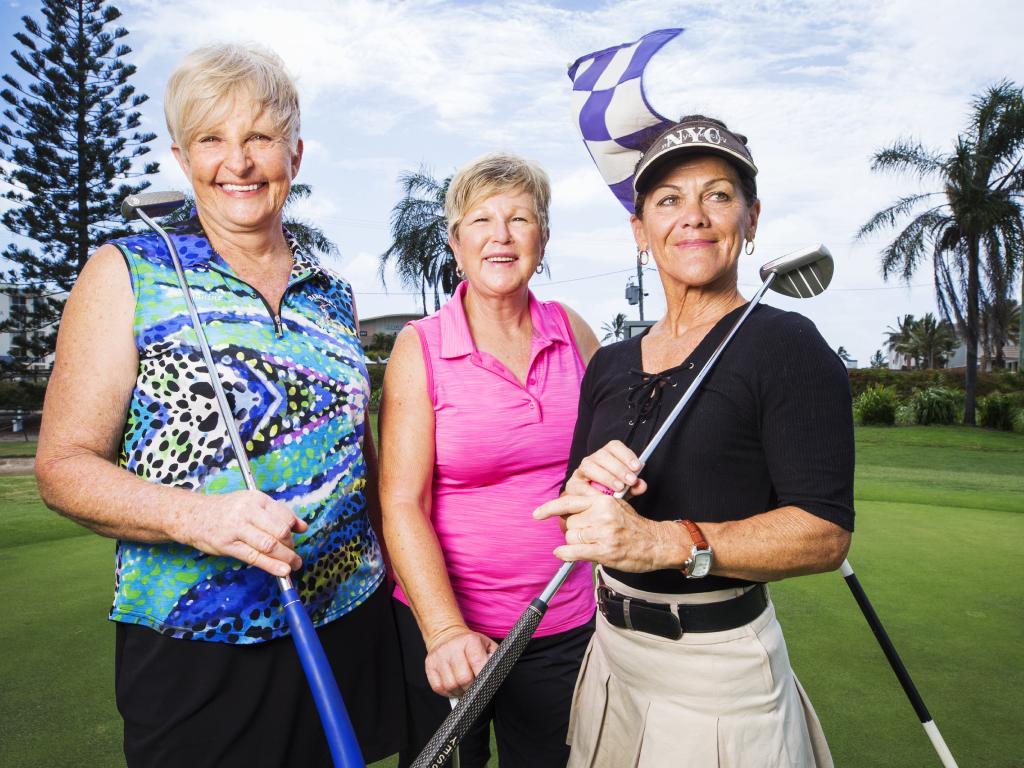 Retirees Janine Smith, 66, Kaye Nicholls, 62, and Allison Jackson, 58, love the Bargara lifestyle. Picture: Lachie Millard