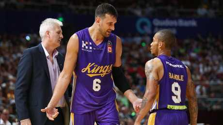 Andrew Bogut and teammate Jerome Randle have words. Picture: AAP