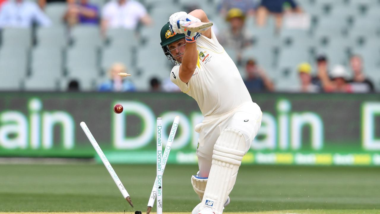 Aaron Finch is bowled by Ishant Sharma in the first Test in Adelaide. Picture: AAP