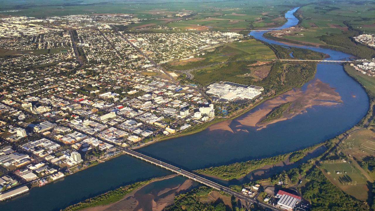 An aerial photograph of Mackay.