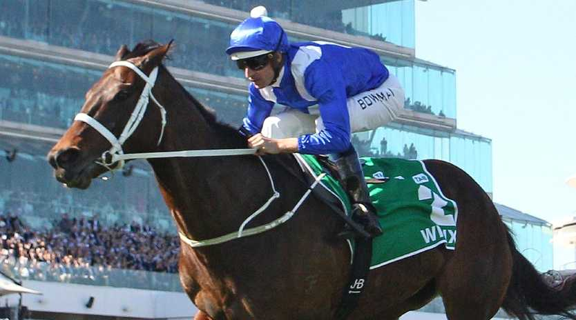 Hugh Bowman quides Winx to victory in the Turnbull Stakes at Flemington on October 6 last year. Picture:  Scott Barbour/Getty Images