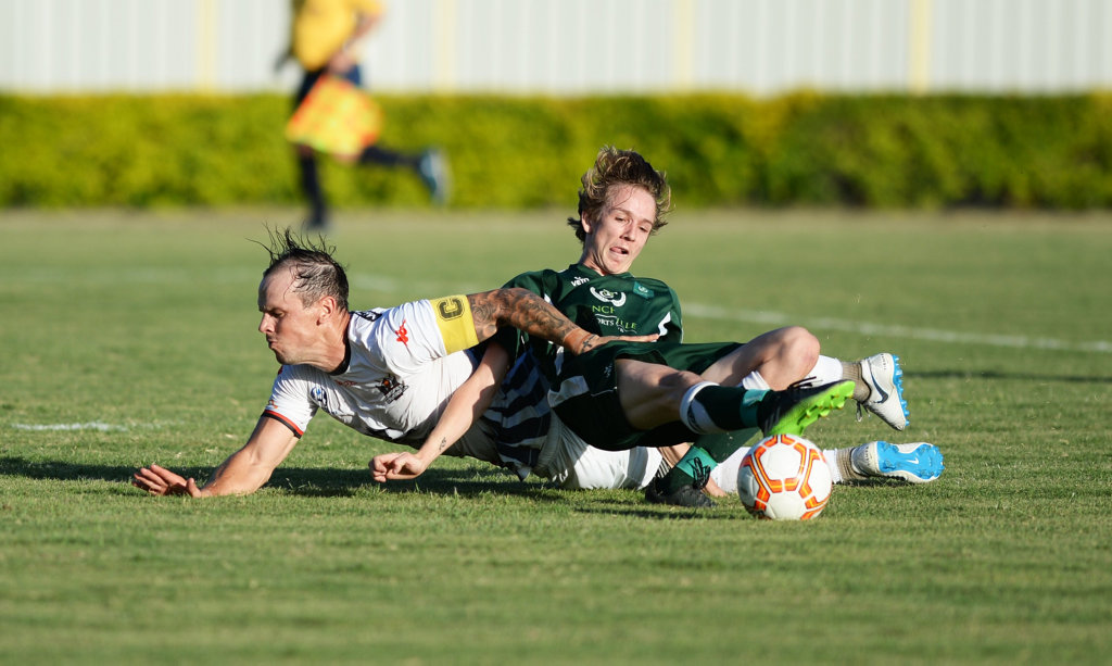 Image for sale: Soccer: Pre-season friendly between Frenchville and Magpies Crusaders United.