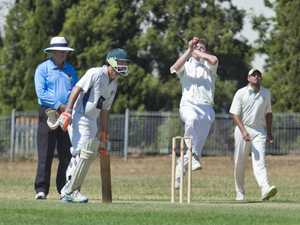 Sam Neale bowls for Wests. TCI A grade cricket, Wests