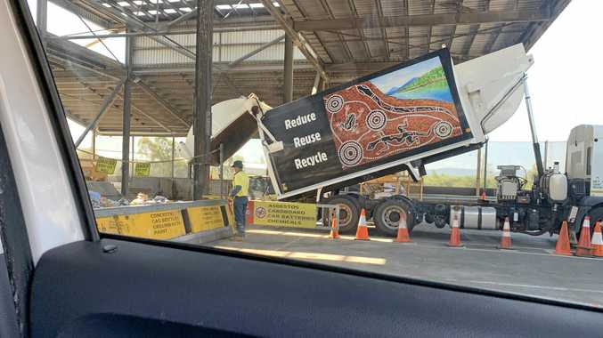 IMPROVEMENT: An Ipswich City Council truck dumps its recycling load at Riverview Transfer Station.