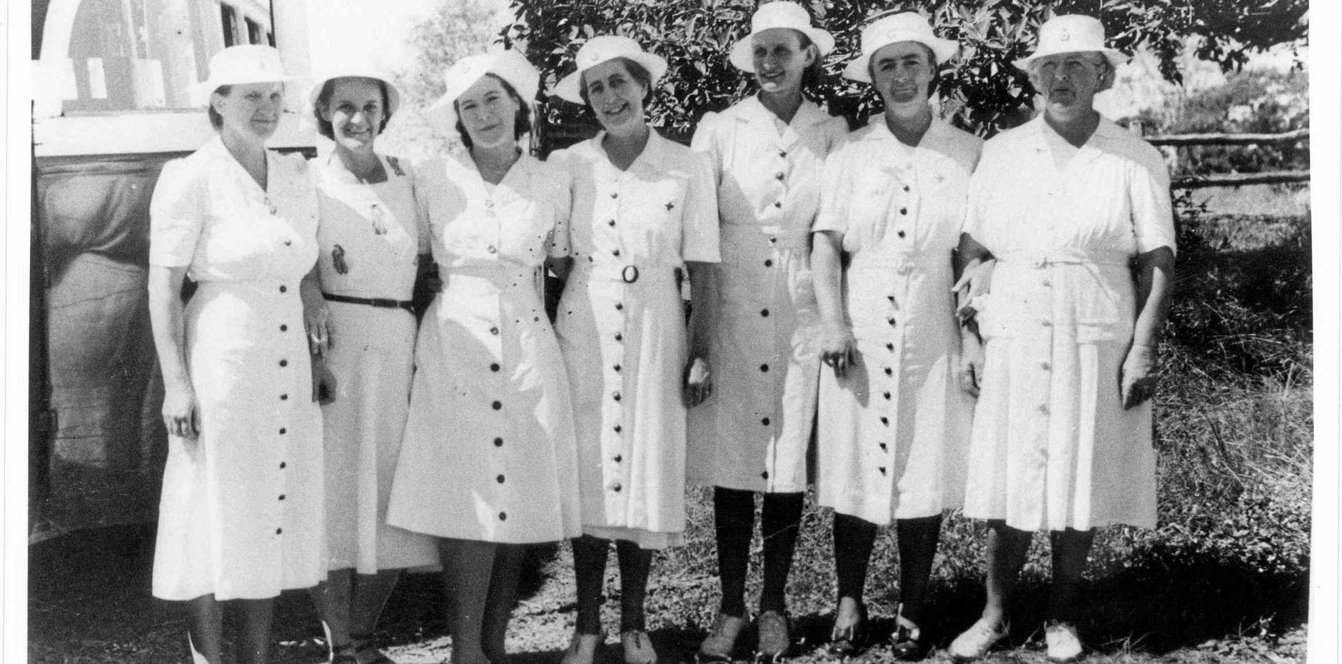 TRADITION OF HELPING: Australian Red Cross Society Gladstone Branch, mid 1940's, (L-R) Mrs Prizeman, Mrs Elliot, Mrs Kahler, Mrs A.H. Friend, Mrs Draper, Mrs Jordan and Mrs Jo Rigby. Photo Contributed
