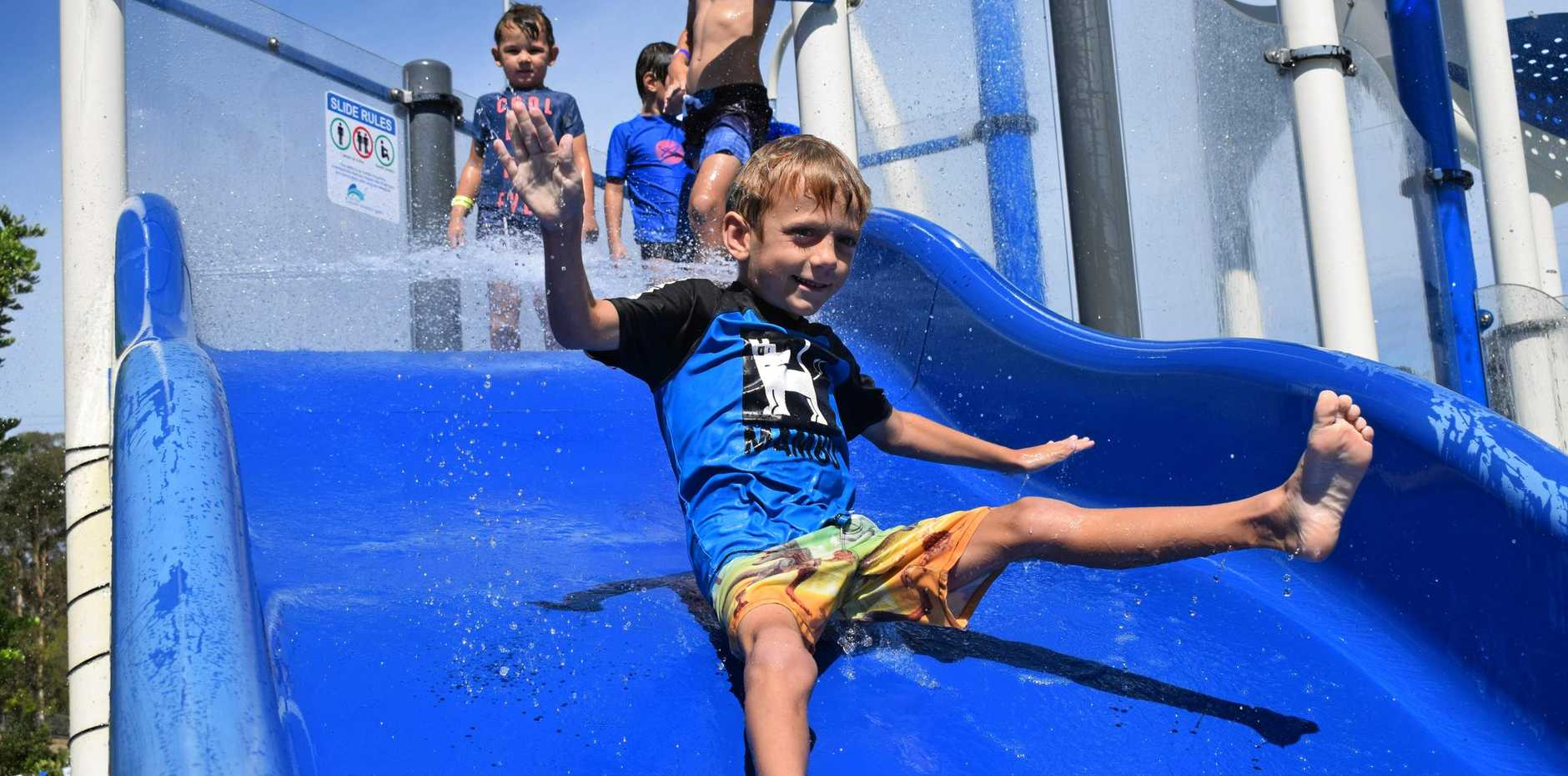 HOLIDAY FUN: Felix Stayt had a great time at the Gympie Aquatic Centre on Saturday afternoon.