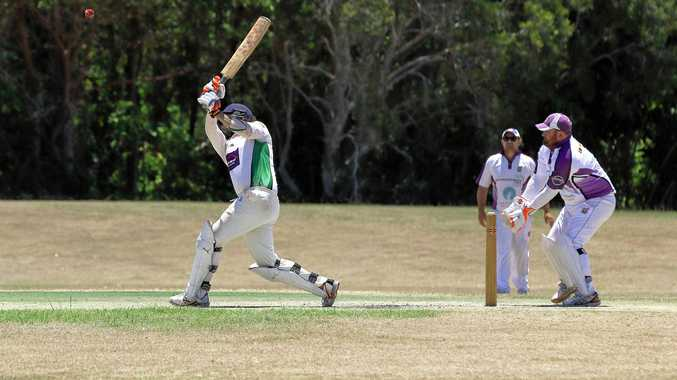 GOING LONG: Lennox Head captain Andrew Lindsay hits another six on his way to 147 not out against Pottsville in Far North Coast LJ Hooker League cricket on Saturday.