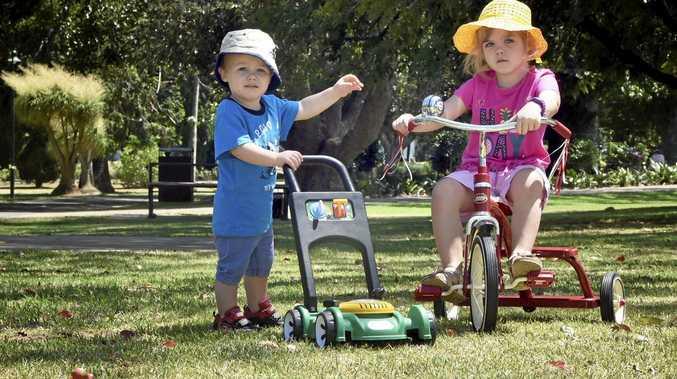 COOL KIDS: Braiden and his sister Ariya Glindemann enjoy the great weather in Queens Park.