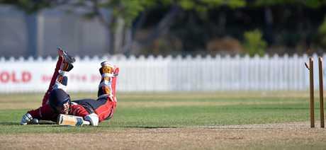 Sunshine Coast Scorchers against Valley in the T20 semifinal.Scorchers batsman Josh Matthews survives a runout.