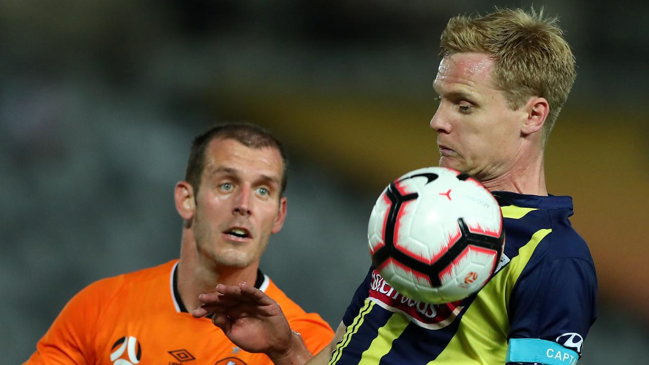 Matt Simon controls the ball during the round 14 A-League match between the Central Coast Mariners and the Brisbane Roar at Central Coast Stadium.