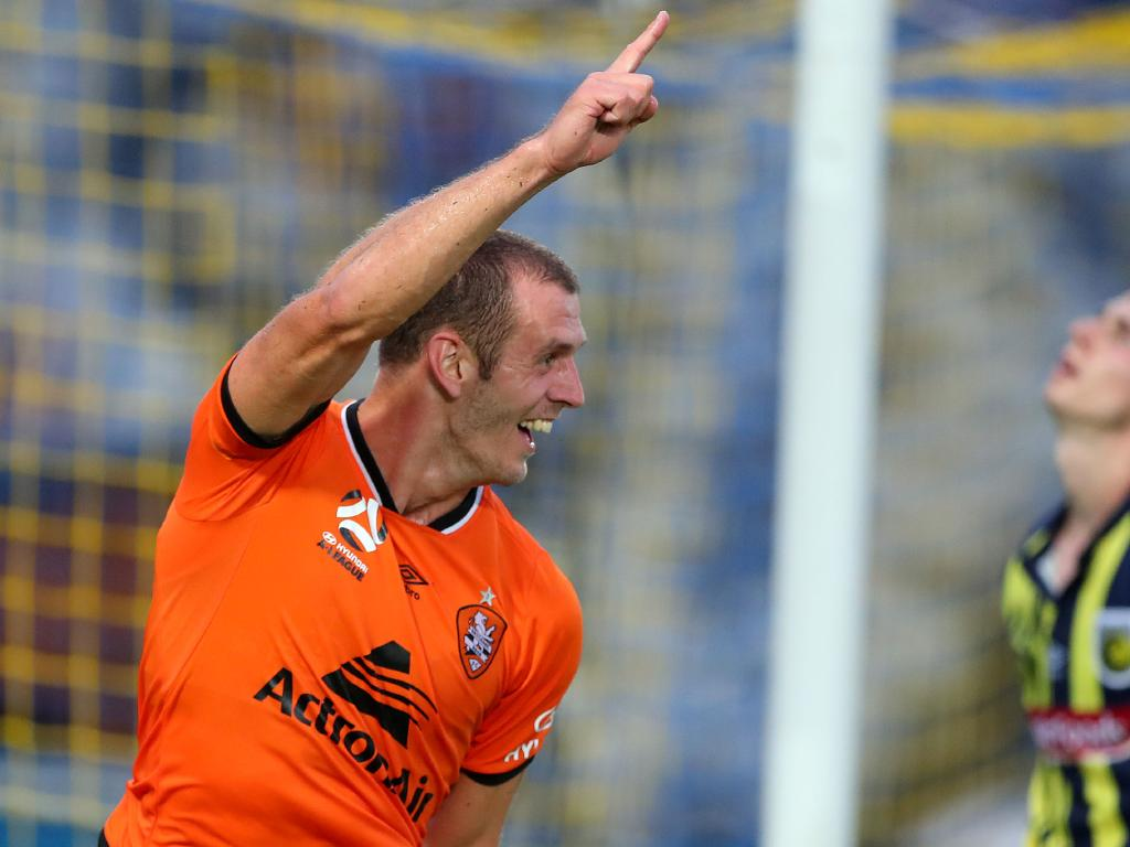 Luke Devere celebrates his goal for Brisbane Roar. Picture: Getty Images