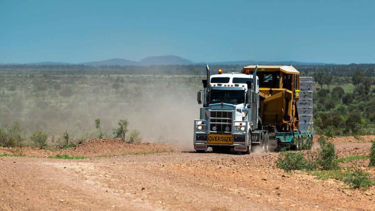 Construction equipment arrives at the Adani's Carmichael coal mine.