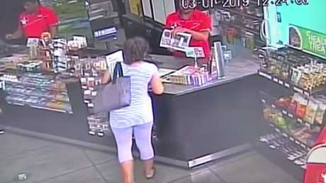 Tina Maria Cash at the Caltex service station where she stole sunglasses, energy drinks and rope. Picture: 1News.
