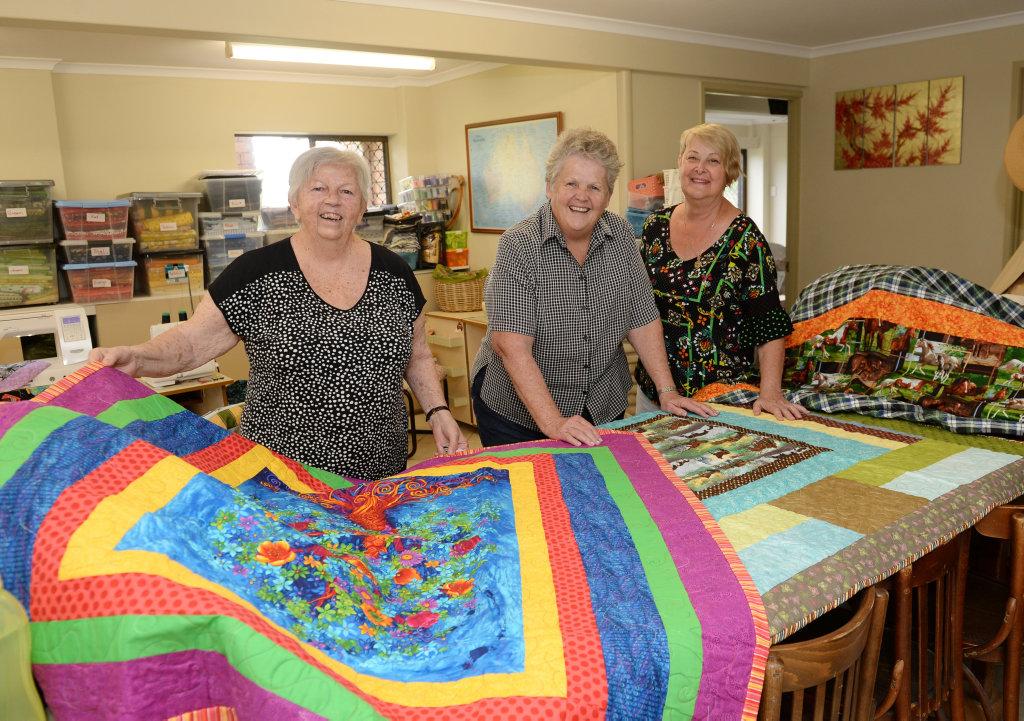 Image for sale: Quilters Susanne Platzke, Susanne Evans and Marlene Dobinson.