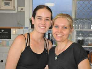 Stacy and Maggie take time for a smile at Flour