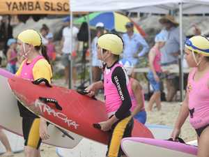 Yamba nippers await the start of the under-10 board