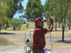 Doug Haig teeing off at the Chinchilla Golf Club.