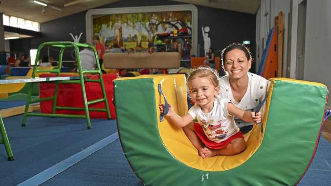 FAMILY TIME: Marion and Mikaela Schembri, 2, rock the PCYC facilities.