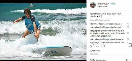 Rijk Hofman's photo of learning how to surf at Agnes Water on Instagram gained thousands of likes.