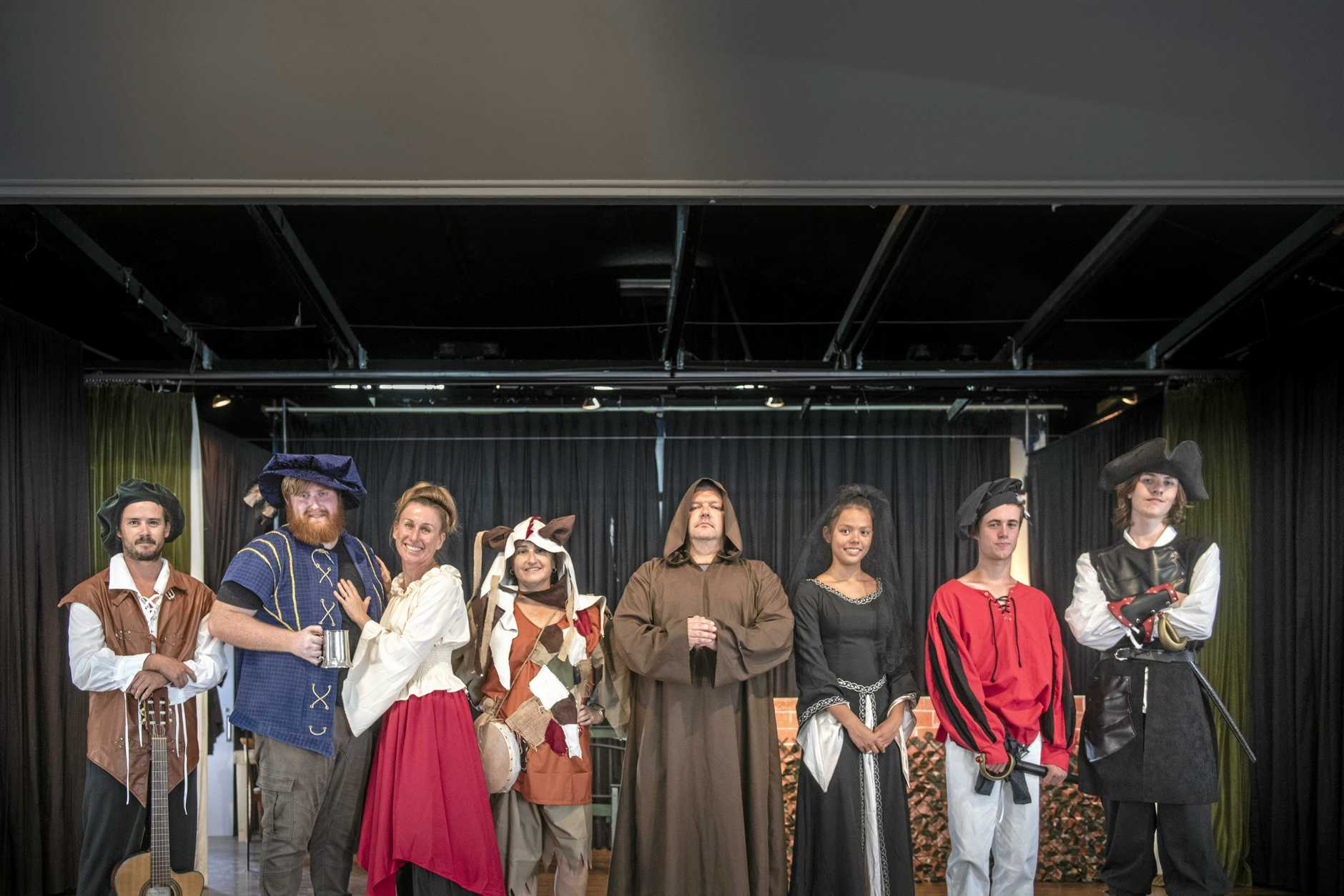 Some of the cast of Clarence Coast Theatrical Society's Twelfth Night get ready at the Maclean Civic Hall.
