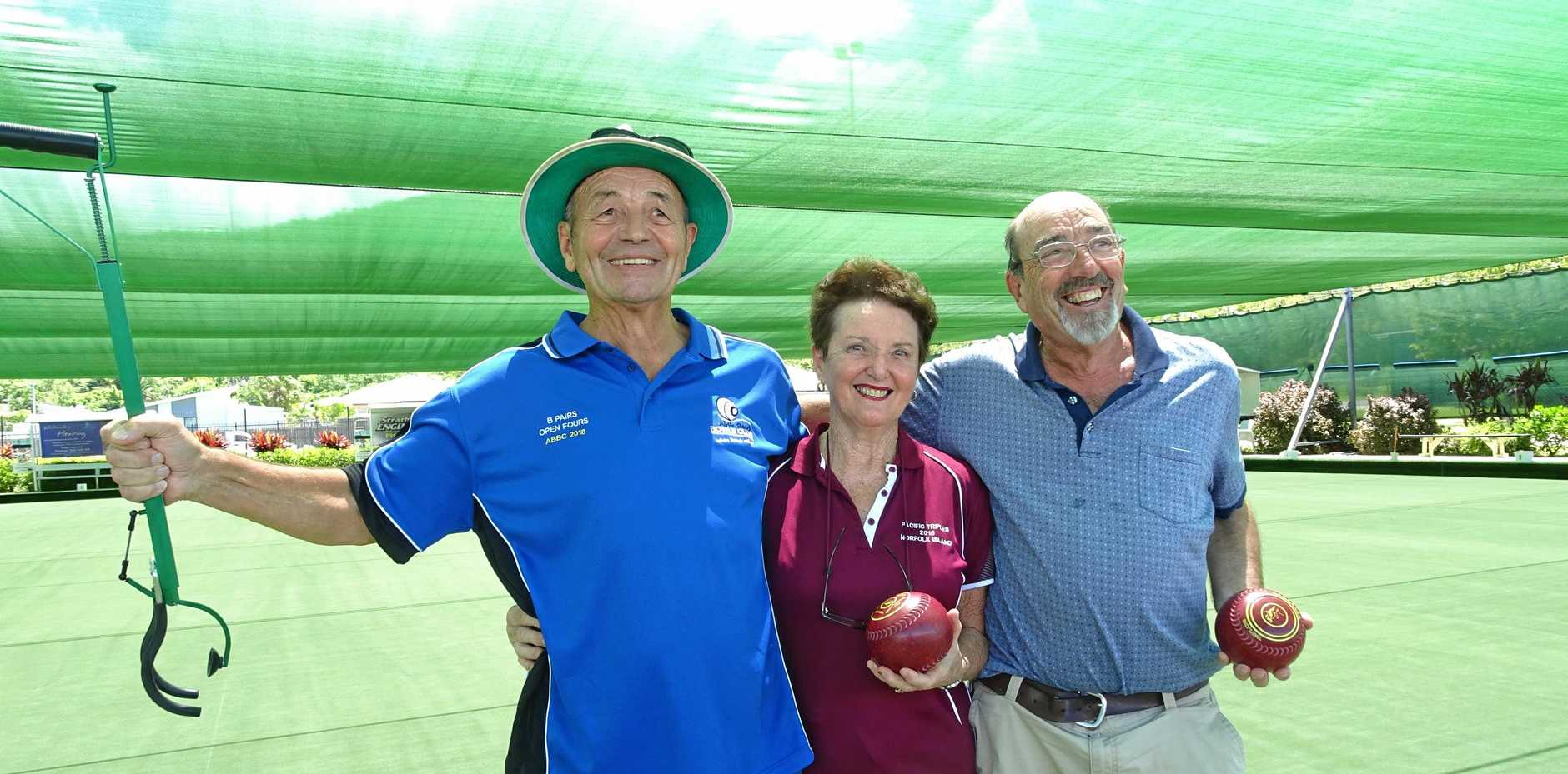 Nik Fernbach, Margo Stanley and Tony Whitehorn at Airlie Beach Bowls Club last week.