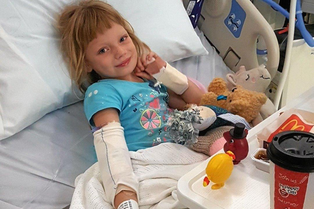 BRAVE GIRL: Maryborough six-year-old Hunter Parker is in Brisbane battling cancer. Her family has started a GoFundMe page to help pay for travel and medical expenses.