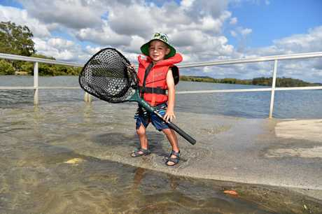 An hour after this morning's high tide peak on the Bradman Avenue boat ramp on the Maroochy River. The highest tide for January of 2.19m comes Tuesday at 8.59am. Max Harris, 3, on holiday with his family from Pittsworth, was ready for a day of fishing as he prepared to board a boat.